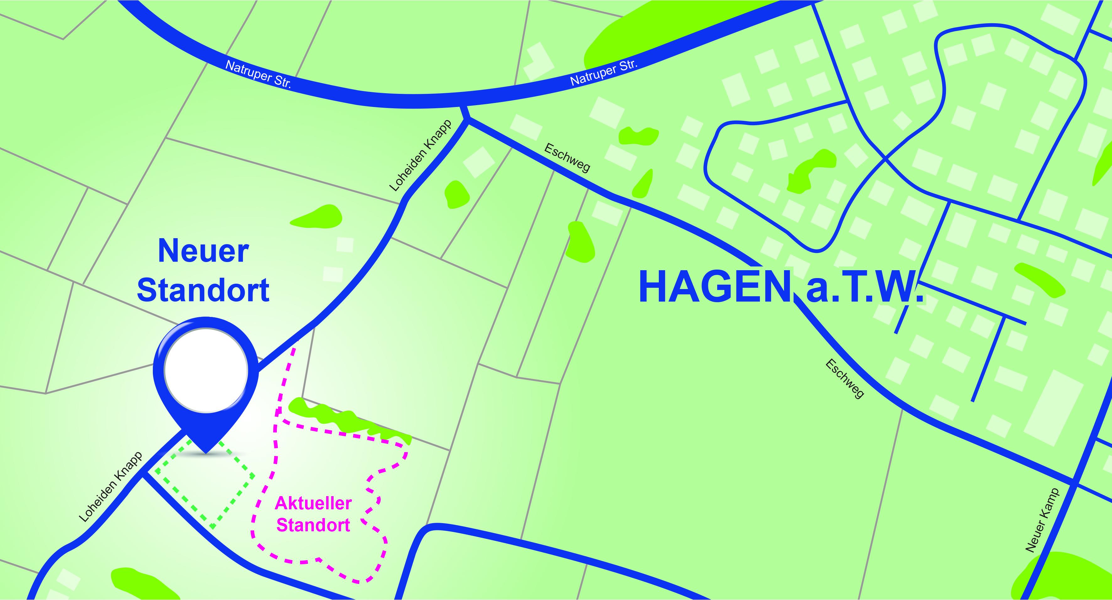 Die Karte zeigt, dass sich der neue Standort direkt neben dem aktuellen Platz befindet.