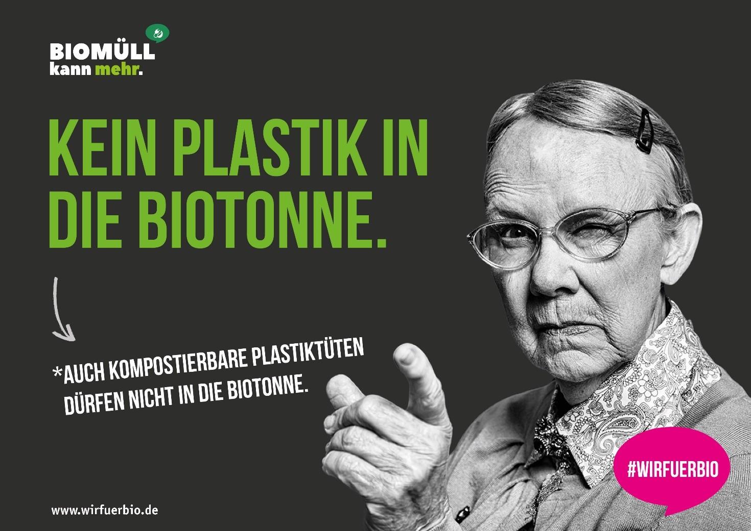 """Mit diesem zentralen Kampagnenmotiv wird die klare Botschaft """"Kein Plastik in die Biotonne!"""" zeitnah auch im Osnabrücker Land stark beworben."""